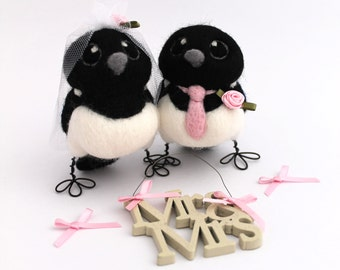 Bride and Groom Magpie Customised Wedding Cake Topper Needle Felted Birds