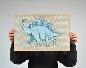 Dinosaur screenprint dino art wall art childrens room illustration stegosaurus chevron paper print