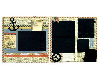 Sailing Away - Two Coordinating Premade Scrapbook Pages