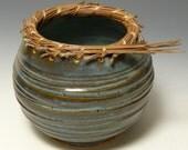 Pine Needle Rimmed Round Vase Bowl