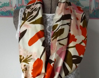 Fabric Infinity Scarf, Silky Fabric, Cream, Orange, Bronze, Pink, Brown, Floral Print,  Shorter Length, Woven