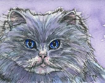 ACEO Grey Long-haired Cat Watercolor & Ink Original Miniature Art