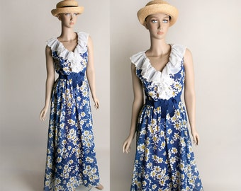 Vintage Daisy Maxi Dress - 1970s Miss Elliette Dark Royal Blue Flower Print Flowing Gown - Small
