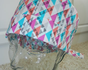 Tie Back Surgical Scrub Hat with Geometric Triangles