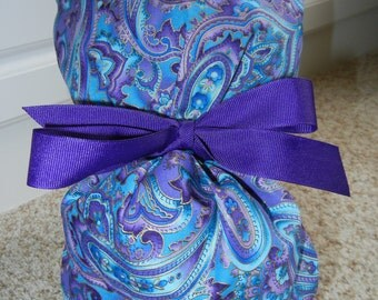 Turn Up Ponytail Scrub Hat with Purple Blue Paisley METALLIC