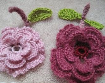 Crochet flowers, Crochet Applique Flowers, 2 pcs, Diameter 9 cm
