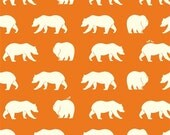 ORGANIC fabric, Bear Camp by Birch Fabrics- Bear Camp in Orange, Dark Orange fabric, Bear fabric, Animal fabric, Nursery, Choose your cut