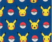 Pokemon fabric, Cool Pokemon Gift, Pikachu fabric, Pokemon gift, Pokeball, Pokemon Go fabric, Pickachu in Royal, Choose your cut