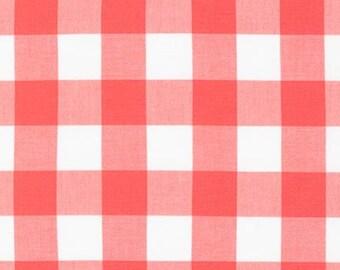 "Plaid Fabric, Reversable, Apparel Fabric, DIY Plaid Summer Scarf fabric, Gingham Fabric by Robert Kaufman, Buffalo Plaid, 1""Gingham in Coral"