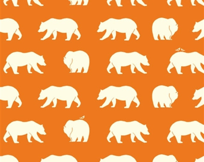 ORGANIC fabric, Bear Camp by Birch Fabrics- Bear Camp in Orange, Dark Orange fabric, Bear fabric, Animal fabric, Nursery, Choose your cut
