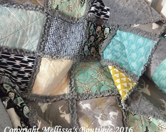 Custom Rustic Deer Arrow Grey Teal/Turquoise/Aqua Navy & Gold Boutique Baby Rag Quilt With Minky Backing MADE To ORDER