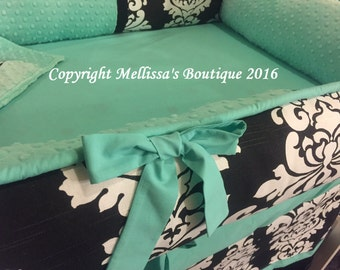 Custom Black & White Damask with Aqua/Teal Accent Boutique Crib Bumper