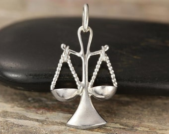 Libra zodiac charm in sterling silver - zodiac necklace - zodiac jewelry - zodiac pendant