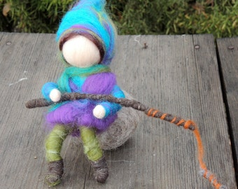 Wee Boy on his Rock with Fishing Pole - Needle felted soft sculpture - Elsa Beskow and Waldorf Inspired by Rebecca Varon