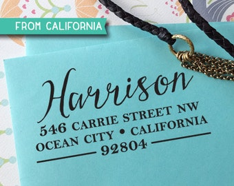 CUSTOM ADDRESS STAMP - Self inking Stamp, Rubber Stamp, Return Address stamp, Personalized Stamp, rsvp address stamp, Wedding Stamp 153