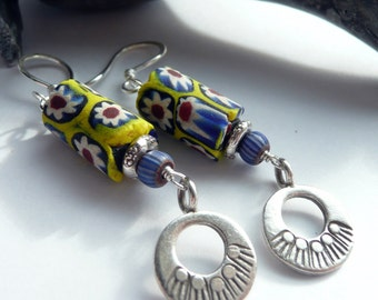 Vintage Venetian Millefiore African Trade Beads Karen Hill Tribe Fine Silver Sterling Silver OOAK Tribal Boho Earrings