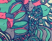 """lilly pulitzer's multi sea jewels dobby cotton fabric square 17.5""""x18"""""""