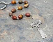 Irish Penal Rosary of Picasso Jasper Gemstone, Irish Penal Chaplet