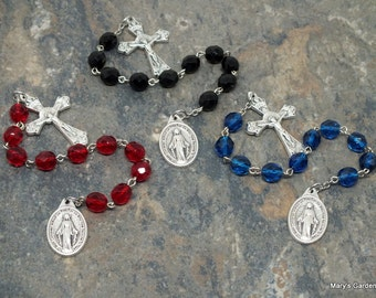 Ten Virtues of Mary Chaplet of Czech Glass in Your Color Choice; Catholic Chaplet; Tenner Chaplet; Ten Virtues Chaplet; Mary Chaplet; Decima