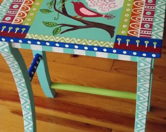Whimsical Painted Furniture Folk Art Table Sing Unto God Bohemian Art Table