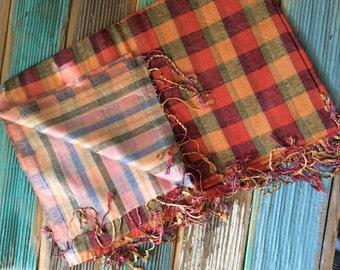 Pumpkin spice silky fringed shawl/scarf