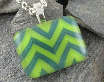 Chevron Lime and Teal Glass Pendant. Fused Glass Design. Modern Glass Jewelry. Chevron Jewelry. Handmade & Designed in Texas. Fun Necklace.