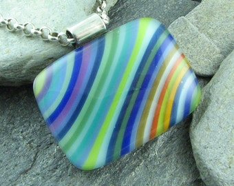 Colorful Diagonal Stripe Fused Glass Pendant. Statement Jewelry. Glass Necklace. Mod Jewelry. Colorful Necklace. Trendy Jewelry.