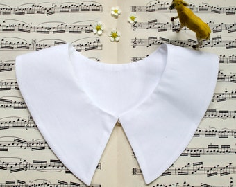 Detachable schoolgirl collar - Peter Pan or butterfly collar, no-button closure - available in Ivory White or Pure White