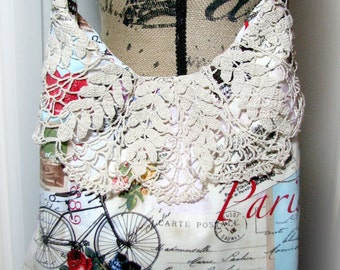 Sale Handmade Tote Purse Diaper Bag Paris Lace