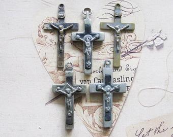 Rosary Cross Crucifix Pendant Lot German Antique Religious Medal Ex Voto Jewelry Art Shrine Assemblage Relics