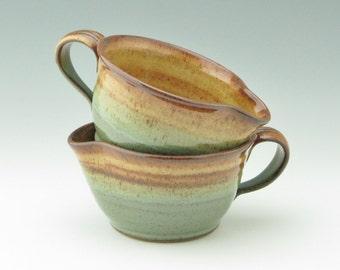 Medium Pottery Batter Bowl - One Stoneware Sturdy 18-20 oz Pancake Mix Bowl - Honey Brown & Sage Green Kitchen Utensil - Home Chef Gift