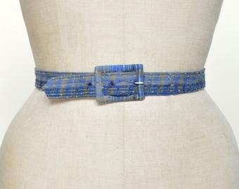 Vintage Plaid Belt --- 1960s Blue Belt