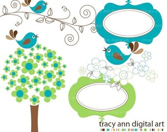 NEW Clip art -  Green Blue and Brown Blossoms and birds,  commercial and personal use