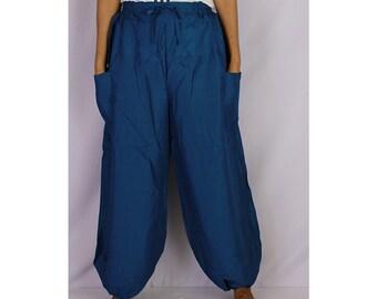 Boho Hippie Dark Blue Rayon Elastic Waist Long Aladdin Summer pants (AP 10)