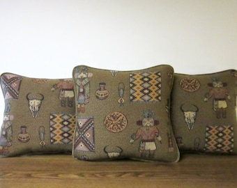 Set of 3 Southwest Artifacts Indian Art Tapestry Pillow Tribal Inspired