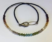 Dainty Handcrafted Autumn Ombre Crystal Necklace - Fall Colors - Swarovski - Brass - Free U S A Shipping