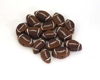 Football Beads, Polymer Clay Beads, Sports Beads, Cane Slices, 15 Pieces