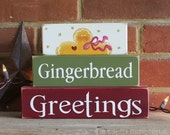 Gingerbread Greetings Christmas Shelf Sitter Blocks Sign Decoration for Christmas Wood Holiday Sign