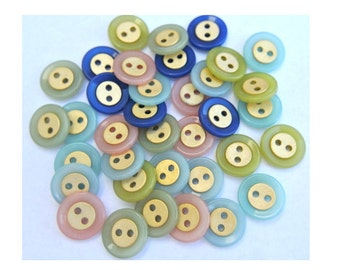 36 Vintage buttons in 6 colors 15mm, 6 buttons of each color