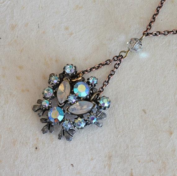 Large Rhinestone Necklace Blue Pendant Vintage Jewelry Long Blue Necklace
