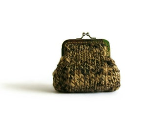 Marl Brown Wool Money Holder, Women Coin Purse, Hand Knit Clasp Kiss Lock Cute Change Purse, Winter Accessories, Gifts for Her Under 20