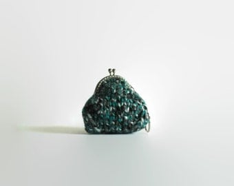 Tweed Teal Wool Small Coin Purse Key Chain Money Holder Women Bag Accessories Gifts for Her Under 20 Change, Coin Pouch, Hand Knit, Handmade