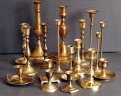 Lot Brass Candlesticks Candle Holders for Wedding Event Mix-Matched Variety