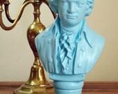 "Painted Bust Mozart Blue Bust Composer Bust Statue 12"""