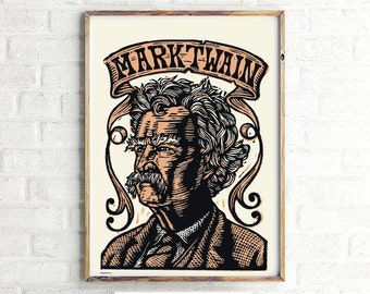 Mark Twain Poster Print Download, Author Mark Twain Large 27x39 Poster Print Art, Printable File
