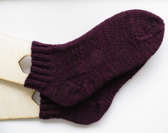 Hand Knitted Socks, Merino Wool Socks, Purple Socks