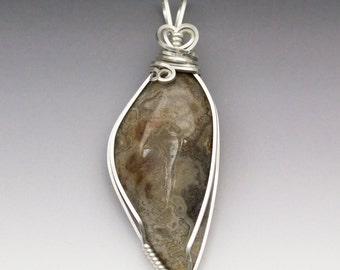 Crazy Lace Agate Sterling Silver Wire Wrapped Pendant - Ready to Ship!