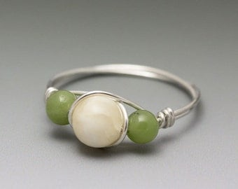 Yellow Calcite & Nephrite Jade Sterling Silver Wire Wrapped Bead Ring - Made to Order, Ships Fast!
