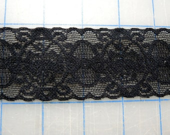 "5 Yards 2"" Wide Black Elastic Lace Trim for BJD Doll Clothes or Lingerie"