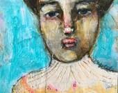 the hidden butterfly, mixed media folk art by mystele